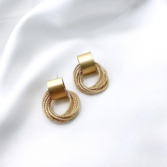 0501.95 Серьги-гвоздики с кольцами матовое золото
