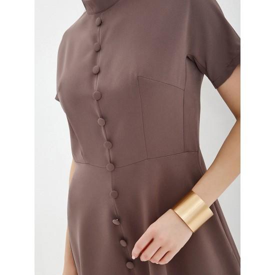 El_W10925_коричневый Платье жен