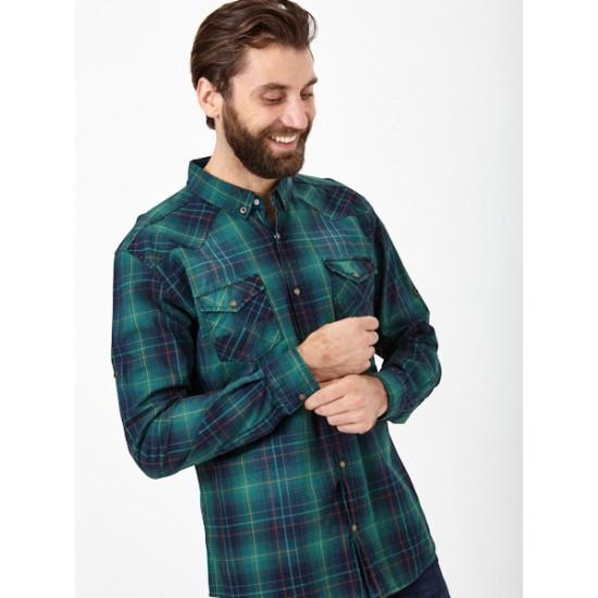 El_M14031_зелено-синий Рубашка муж